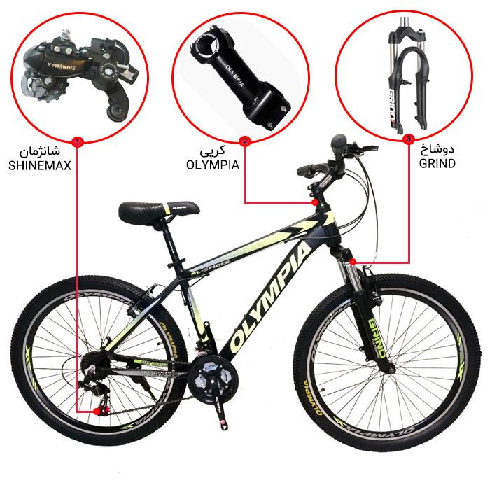 اینفوگرافی دوچرخه کوهستان المپیا مدل ML-SPIDER سایز 26