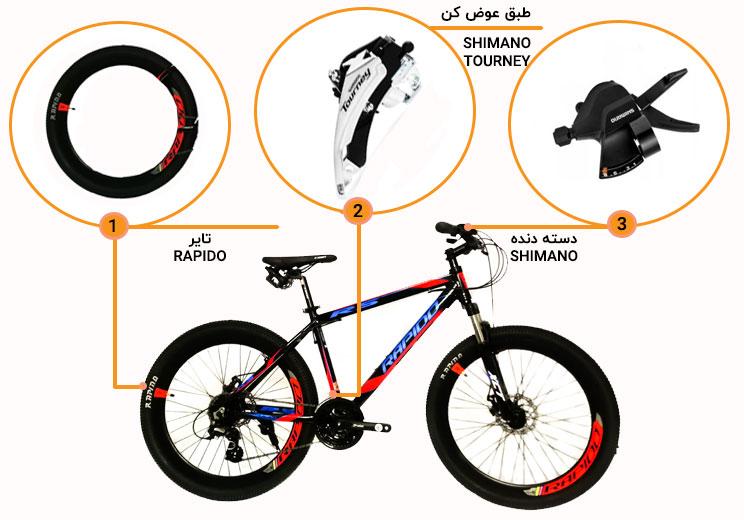 اینفوگرافی دوچرخه راپیدو r5 سایز 26