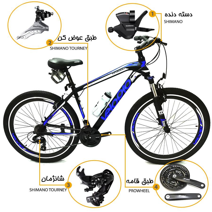 اینفوگرافی دوچرخه ولوپرو  vp3000 سایز 27.5