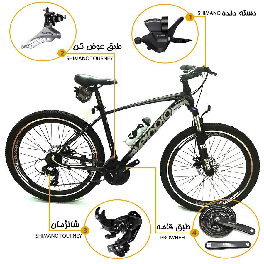 اینفوگرافی دوچرخه کوهستان velopro vp8000 سایز 27.5